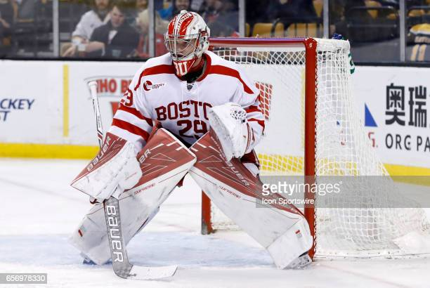 Boston University Terriers goaltender Jake Oettinger gets set for a face off in the defensive zone during a Hockey East semifinal between the Boston...