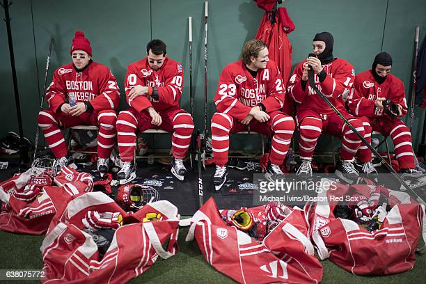 Boston University Terriers Tommy Kelly Gabriel Chabot Jakob Forsbacka Karlsson Bobo Carpenter and Patrick Harper prepare before taking the ice...