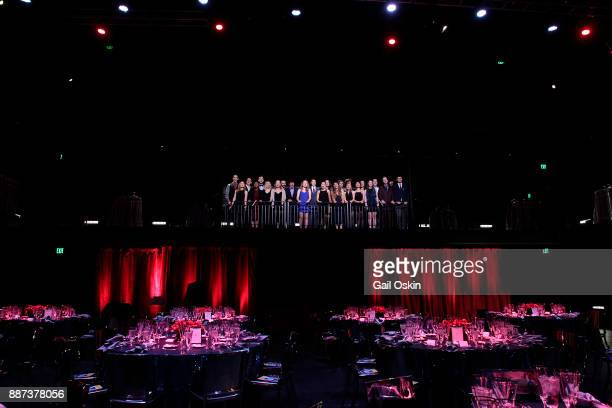 Boston University's Fine Arts Undergraduate Performers practice before the Boston University Theatre Center Ribbon Cutting event on Wednesday...