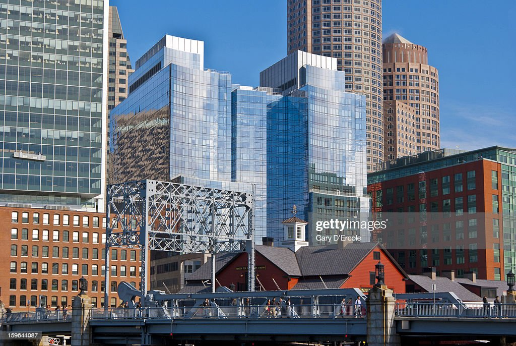 Boston waterfront skyline : Stock Photo
