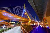 Boston Zakim bridge sunset in Bunker Hill Massachusetts USA