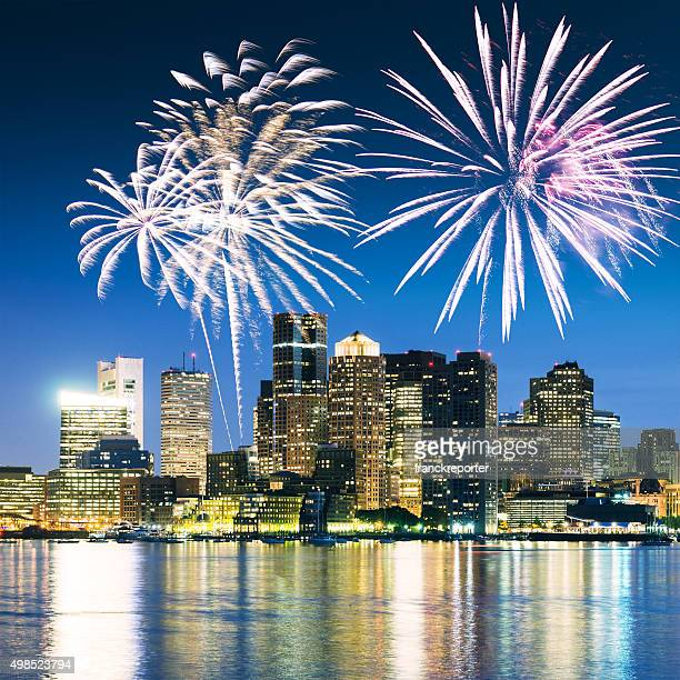 Bostonon the night with fireworks for the new year