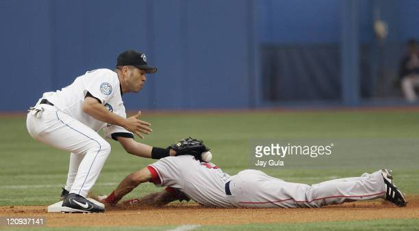 Boston's Coco Crisp is safe at 2nd with a stolen base ahead of the tag from Toronto 2nd baseman Edgardo Alfonzo in action during the Boston Red Sox...