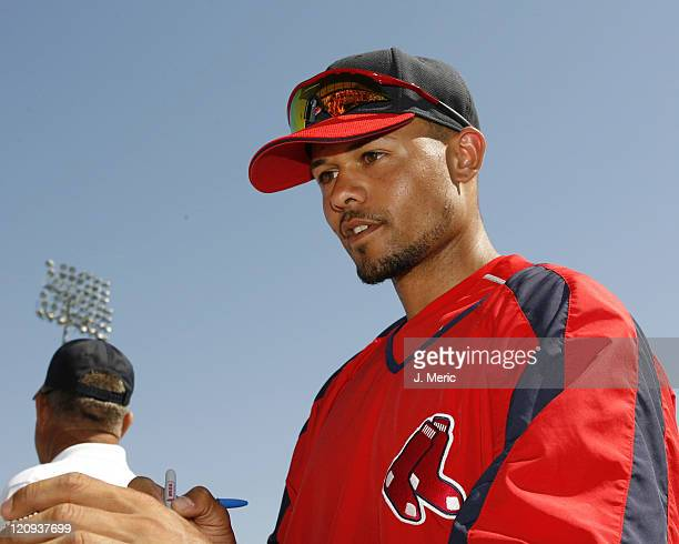 Boston's Coco Crisp signs autographs prior to Saturday's game against the Pittsburgh Pirates at City of Palms Park in Ft Myers Florida on March 4 2006