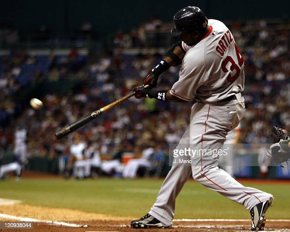 Boston's David Ortiz hits a home run in Tuesday's game against the Tampa Bay Devil Rays at Tropicana Field in St Petersburg Florida on July 4 2006