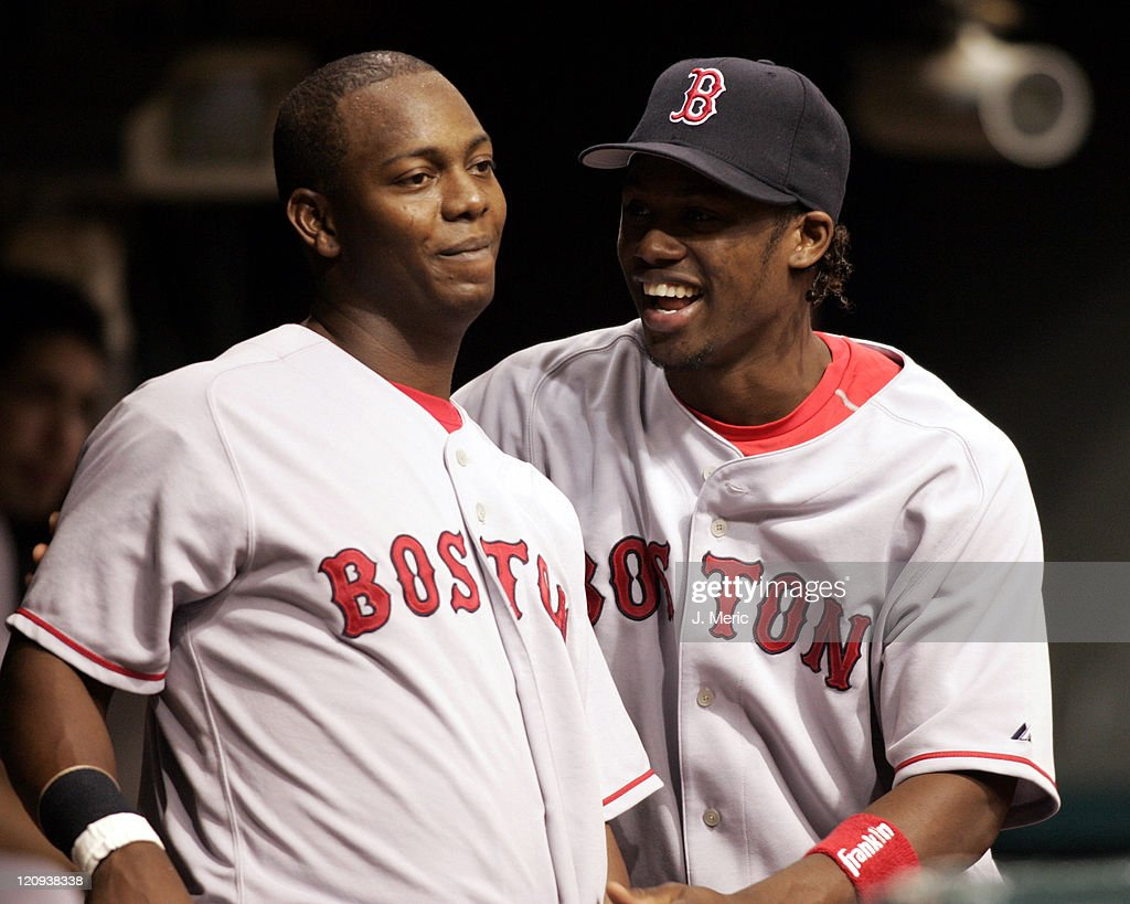 Boston's Edgar Renteria (left) and Hanley Ramirez share a laugh prior to Wednesday night's game against the Tampa Bay Devil Rays at Tropicana Field in St. Petersburg, Florida on September 21, 2005.