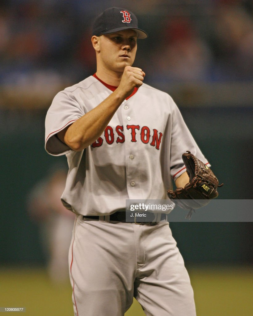 Boston's Jonathan Papelbon pumps his fist after getting the save against Tampa Bay during Saturday night's game at Tropicana Field in St Petersburg...