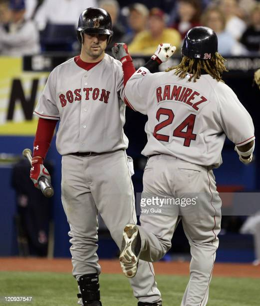 Boston's Manny Ramirez is congratulated by Trot Nixon after slugging his 1st HR of the season in MLB action at Rogers Centre in Toronto between the...