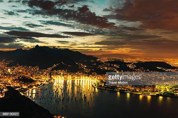 Botafogo bay at night, Rio de Janeiro, Brazil