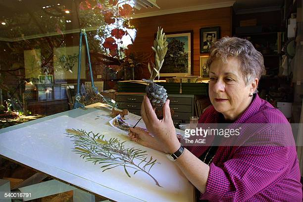 Botanic artist Celia Rosser at her studio in Box Hill 10 April 2002 THE AGE Picture by EDDIE JIM