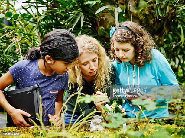 Botanist showing students plant in greenhouse