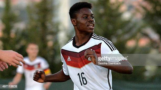 Bote Nzuzi Baku of Germany celebrates after scoring his team's second goal during the U18 four nations friendly tournament match between Germany and...