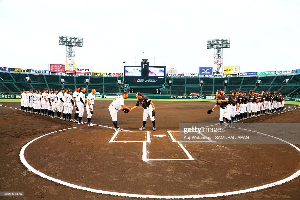 Both Japan teams line up for national anthem in the sendoff game between U18 Japan and Collegiate Japan before the 2015 WBSC U18 Baseball World Cup...