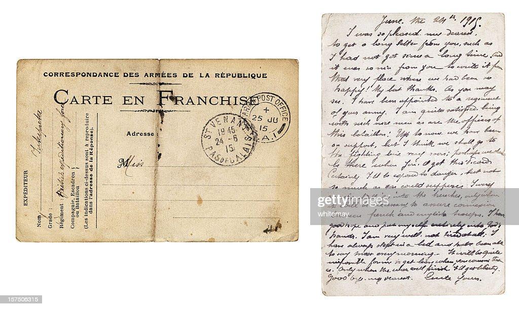Beide Seiten der British Army Post gesendet von Frankreich, das 1915 : Stock-Foto