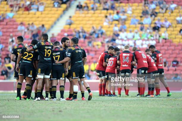 Both teams get prepared before start of the Rugby Global Tens Final match between the Crusaders and Chiefs at Suncorp Stadium on February 12 2017 in...