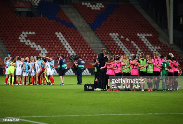 Both teams huddle at the end during the UEFA Women's Euro 2017 match between England and Scotland at Stadion Galgenwaard on July 19 2017 in Utrecht...