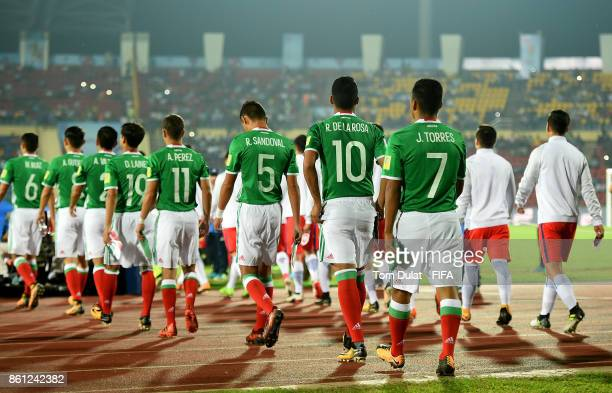 Both teams leave the tunnel during the FIFA U17 World Cup India 2017 group E match between Mexico and Chile at Indira Gandhi Athletic Stadium on...