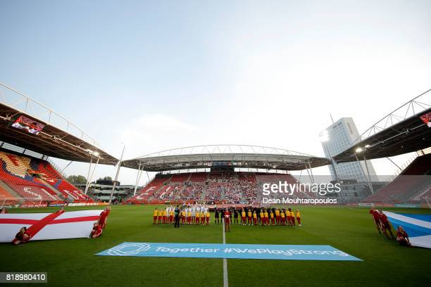 Both teams line up ahead of kick off during the UEFA Women's Euro 2017 Group D match between England and Scotland at Stadion Galgenwaard on July 19...