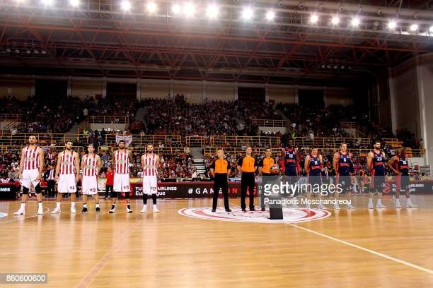 Both teams line up during the 2017/2018 Turkish Airlines EuroLeague Regular Season Round 1 game between Olympiacos Piraeus v Baskonia Vitoria Gasteiz...