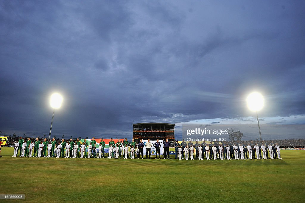 Both teams line up for their national anthems during the ICC World Twenty20 2012 Group C match between Sri Lanka and South Africa at Mahinda Rajapaksa International Cricket Stadium on September 22, 2012 in Hambantota, Sri Lanka.