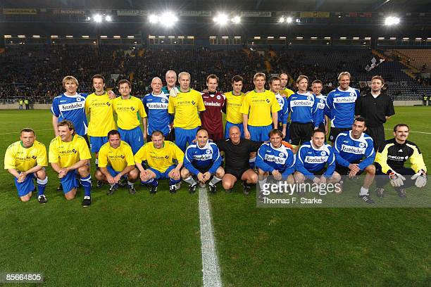 Both teams line up prior the Ansgar Brinkmann Farewell Match at the Schueco Arena on March 27 2009 in Bielefeld Germany