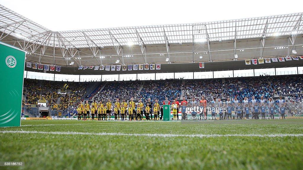 Both teams line up prior to the A Juniors German Championship Final match between 1899 Hoffenheim U19 and Borussia Dortmund U19 at Wirsol Rhein-Neckar-Arena on May 29, 2016 in Sinsheim, Germany.