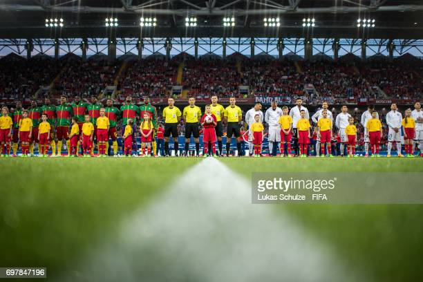 Both teams line up prior to the FIFA Confederations Cup Russia 2017 Group B match between Cameroon and Chile at Spartak Stadium on June 18 2017 in...