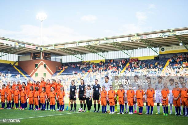Both teams line up prior to the Women's International Friendly match between Netherlands and Japan at Rat Verlegh Stadion on June 9 2017 in Breda...