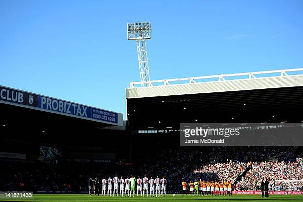 Both team's observe a minutes applause in tribute to Fabrice Muamba of Bolton during the Barclays Premier League match between West Bromwich Albion...