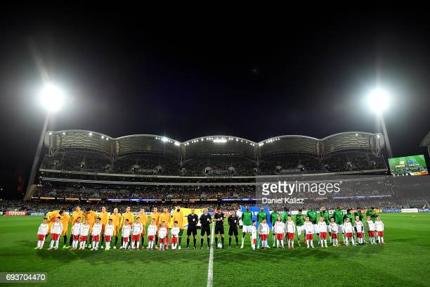 Both teams pause prior to the 2018 FIFA World Cup Qualifier match between the Australian Socceroos and Saudi Arabia at the Adelaide Oval on June 8...