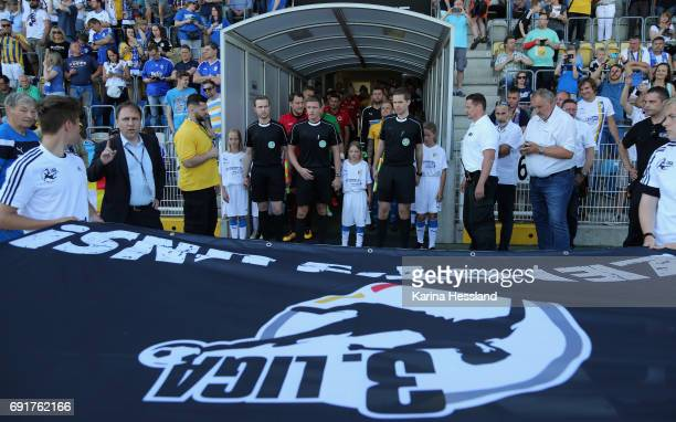 Both teams stand in the players tunnel before the Third League Playoff Leg Two between FC Carl Zeiss Jena and Viktoria Koeln on June 01 2017 at...