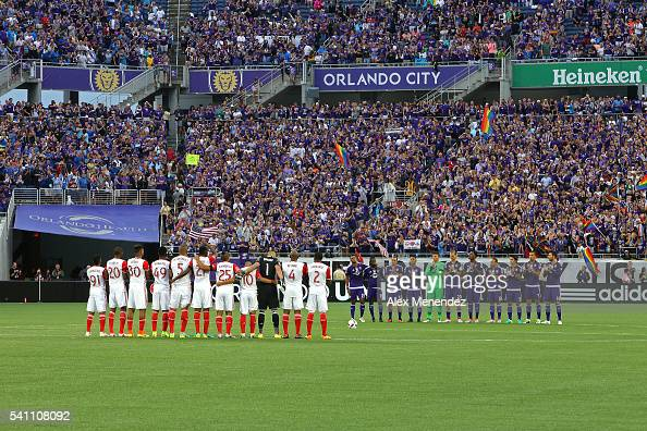 Both teams take a moment to pause in memory of the recent shooting during an MLS soccer match between the San Jose Earthquakes and the Orlando City...