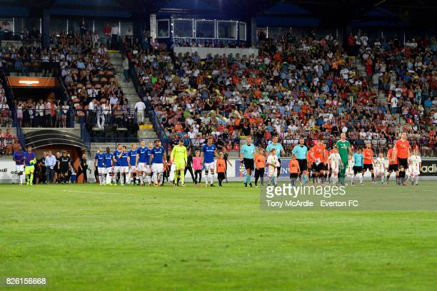 Both teams walk out before the UEFA Europa League Qualifier match between MFK Ruzomberok and Everton on August 3 2017 in Ruzomberok Slovakia