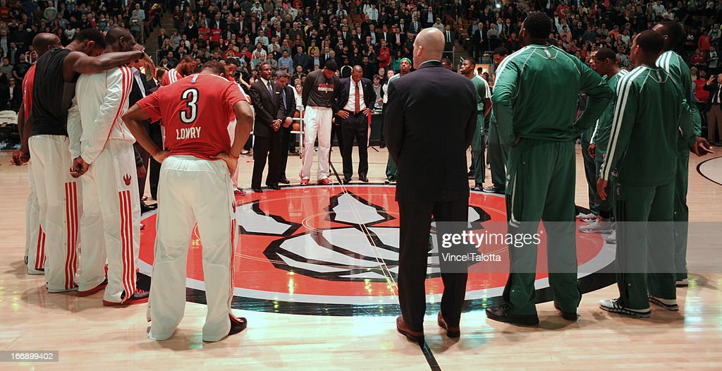 Both the Toronto Raptors and Boston Celtics spend a moment of silence for the people in Boston who died or were seriously injured in the Boston Marathon bombings a couple days ago at the Air Canada Centre.