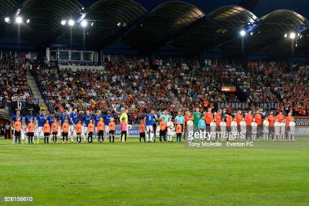 Both treams line up before the UEFA Europa League Qualifier match between MFK Ruzomberok and Everton on August 3 2017 in Ruzomberok Slovakia