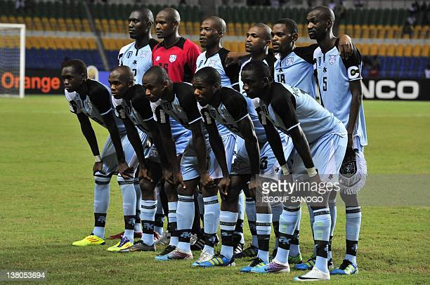 Botswana's national football team players pose at the stade de l'Amitie on February 1 2012 in Libreville before an African Cup of Nations group D...