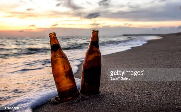 Bottle beer on the beach