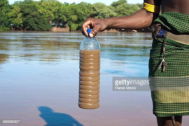 Bottle containing dirty water intended to be drunk