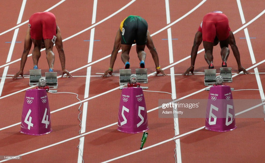 A bottle is thrown onto the track as runner get for the Men's 100m Final on Day 9 of the London 2012 Olympic Games at the Olympic Stadium on August 5, 2012 in London, England.