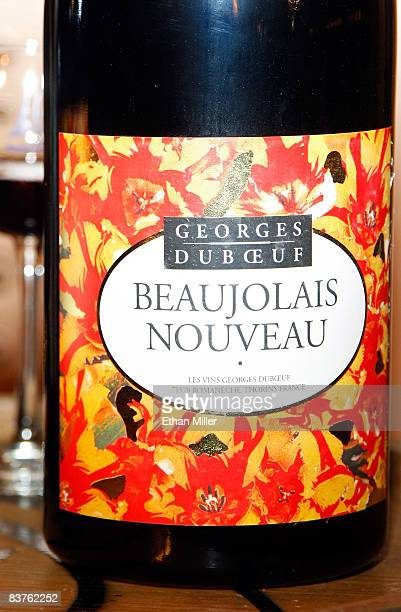 A bottle of 2008 Georges Duboeuf Beaujolais Nouveau wine is displayed at the Paris Las Vegas early November 20 2008 in Las Vegas Nevada Singer Lance...