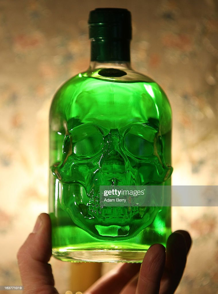 A bottle of 89 percent alcohol absinthe in the shape of a skull is seen at the Absinth Depot shop on March 15, 2013 in Berlin, Germany. The highly alcoholic drink absinthe was banned in much of Europe during World War I, and only in recent years became once again legal, finding its way back into bars and shops. Meanwhile the European Parliament is divided on its vote on the European Commission's attempt to standardize the definition of the drink by deciding if and how much of the two substances anethole and the chemical thujone, a toxin extracted from wormwood, which has given the drink its reputation for producing mind-altering effects, must be contained within it to officially classify versions of the 'green fairy,' as it is also known, with the absinthe name.