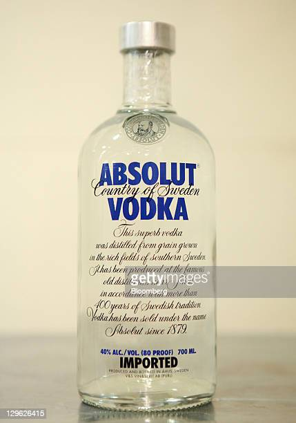 A bottle of Absolut vodka a Pernod Ricard SA product is arranged for a photograph in London UK on Tuesday Oct 18 2011 UK shopprice growth was...