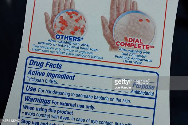A bottle of antibacterial soap contains the active ingredient triclosan on December 17 2013 in Miami Florida The Food and Drug Administration...