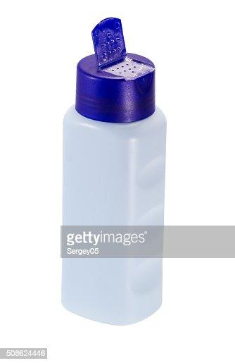 bottle of baby powder talcum : Stock Photo