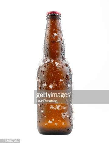 Bottle Of Beer Covered in Ice