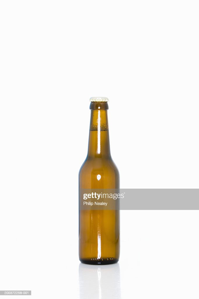 Bottle of beer on white background : Stock Photo