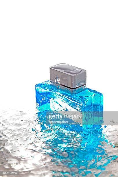 Bottle of blue cologne
