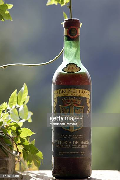 'A bottle of Brunello di Montalcino made at Fattoria dei Barbi and bottled in 1965 Montalcino Italy October 2005 '