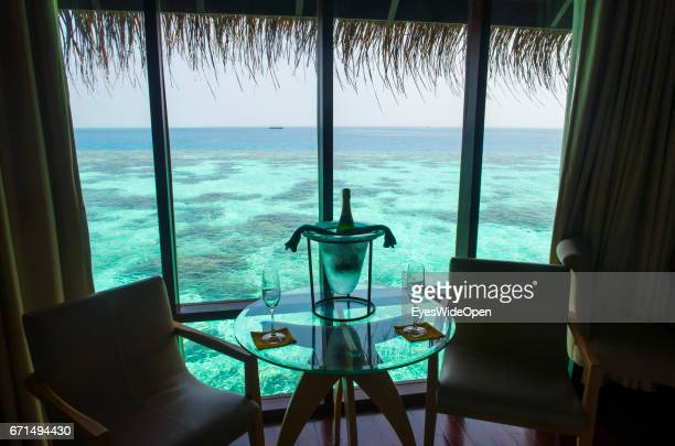 Bottle of Champagne in a Water Villa at Coco Bodu Hiti NorthMaleAtoll on February 23 2017 in Male Maldives