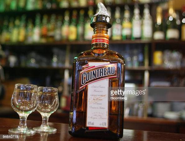 A bottle of Cointreau sits on the bar of a cafe in Paris, Fr ...